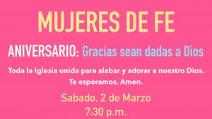 Aniversario: Mujeres de Fe