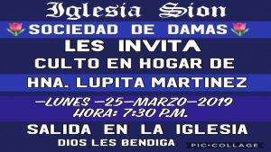 Sociedad de Damas: Culto en Hogar de hna. Lupita